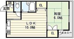 大阪府東大阪市柏田西1丁目の賃貸マンションの間取り