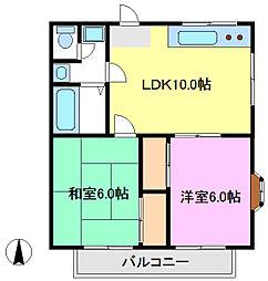 デリエール横須賀B棟[103号室]の間取り