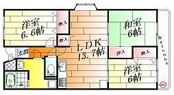 グランシャリオ箕面[2階]の間取り
