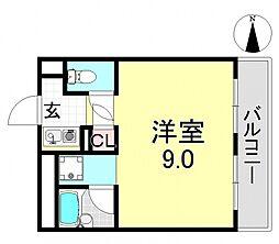 平野エアクリアロイヤルハイツ[6O3号室号室]の間取り