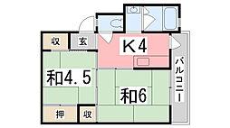 ビレッジハウス十王堂3号棟[202号室]の間取り