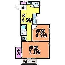 愛媛県松山市宮田町の賃貸マンションの間取り