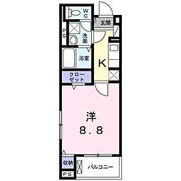 プロムナード桂川 3階1Kの間取り