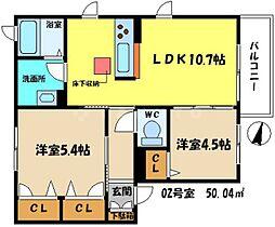 Osaka Metro谷町線 守口駅 徒歩16分の賃貸アパート 1階2LDKの間取り
