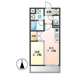 JR東海道本線 尾頭橋駅 徒歩17分の賃貸マンション 2階1DKの間取り