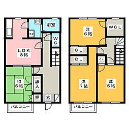 [テラスハウス] 福岡県太宰府市吉松2丁目 の賃貸【福岡県 / 太宰府市】の間取り