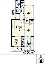 ルーミィ新屋敷[3階]の間取り