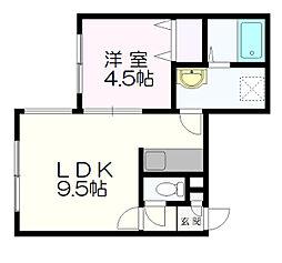 北海道札幌市清田区清田三条2丁目の賃貸アパートの間取り
