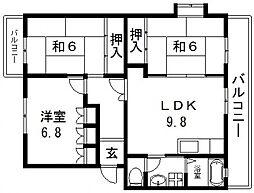 シュロス若江[104号室号室]の間取り