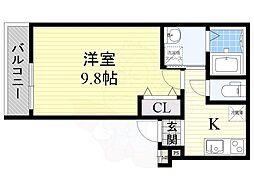 フジパレス長栄寺2番館 3階1Kの間取り
