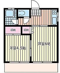 神奈川県横浜市西区東ケ丘の賃貸アパートの間取り