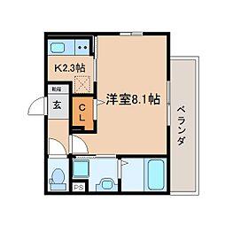 JR東海道本線 静岡駅 徒歩8分の賃貸マンション 2階1Kの間取り