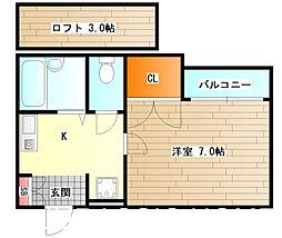大阪府堺市堺区綾之町東1丁の賃貸アパートの間取り