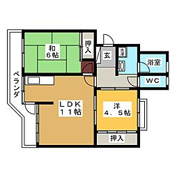 コーポ三浦[1階]の間取り