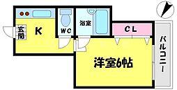 シンパシー京橋[6階]の間取り