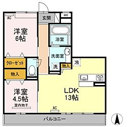 広島県福山市神辺町大字新徳田の賃貸アパートの間取り
