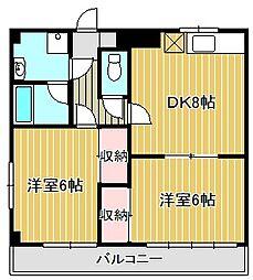 神奈川県川崎市中原区下沼部の賃貸マンションの間取り