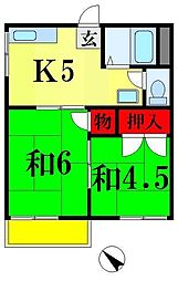 第二ミウラハイツ[2階]の間取り