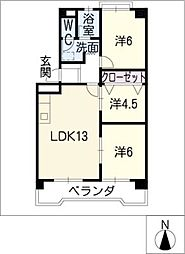 レジデンス蟹江[2階]の間取り