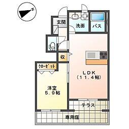 (仮称)平塚市四之宮アパートII期 新築工事 1階1LDKの間取り