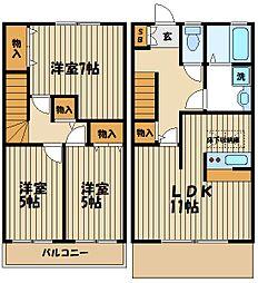 [タウンハウス] 東京都府中市是政1丁目 の賃貸【東京都 / 府中市】の間取り