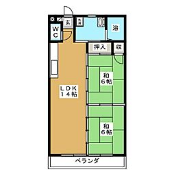 メルシーハイツ飯田B[2階]の間取り
