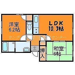 岡山県岡山市東区目黒町の賃貸アパートの間取り