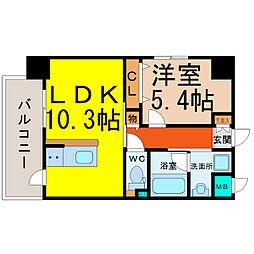 愛知県名古屋市中村区本陣通2丁目の賃貸マンションの間取り