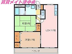 三重県津市高茶屋6の賃貸アパートの間取り