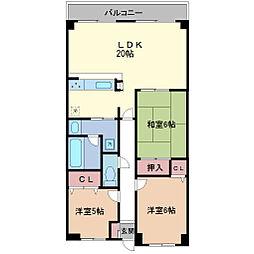 ライオンズマンション桃山南口[302号室]の間取り