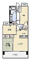 クリオ衣笠フィルソーレ[6階]の間取り