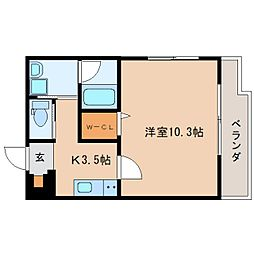 JR東海道本線 静岡駅 徒歩14分の賃貸マンション 3階1Kの間取り