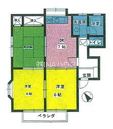 埼玉県上尾市緑丘2丁目の賃貸アパートの間取り