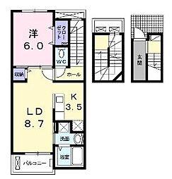 JR山陽本線 福山駅 5.2kmの賃貸アパート 3階1LDKの間取り