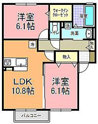 仮)D−room寄井 L[203号室]の間取り