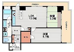 リーガルタワー船場[10階]の間取り