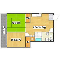 スターケープ平田[1階]の間取り