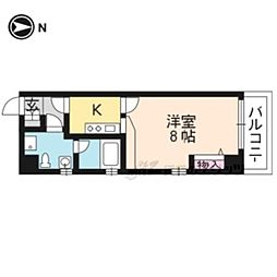 京阪本線 神宮丸太町駅 徒歩6分の賃貸マンション 2階1Kの間取り
