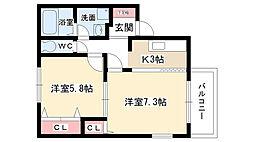 愛知県名古屋市守山区本地が丘の賃貸アパートの間取り