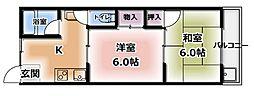 昌人ハイツ[201号室]の間取り