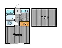 ハーミットクラブハウス四季美台A[1階]の間取り