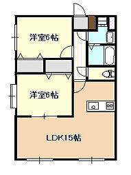 JR瀬戸大橋線 妹尾駅 徒歩4分の賃貸マンション 2階2LDKの間取り