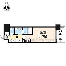 京都地下鉄東西線 太秦天神川駅 徒歩6分の賃貸マンション 2階1Kの間取り