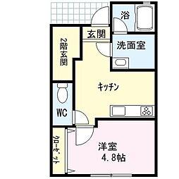 仮称)中央3丁目新築アパート 1階1DKの間取り