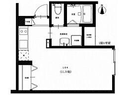 JR津山線 法界院駅 徒歩8分の賃貸アパート 1階ワンルームの間取り