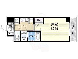 S-RESIDENCE江坂Eminence 10階1Kの間取り