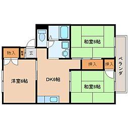 奈良県大和郡山市九条町の賃貸アパートの間取り
