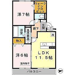 和歌山県紀の川市西井阪の賃貸アパートの間取り