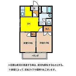 埼玉県東松山市箭弓町1丁目の賃貸アパートの間取り