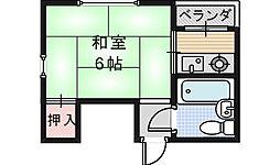 シャトー西田辺[301号室]の間取り